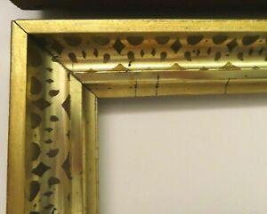 2-Antique-Fits-8-X-10-034-Lemon-Gold-Gilt-Picture-Frame-Stencil-Wood-Fine-Art-PAIR
