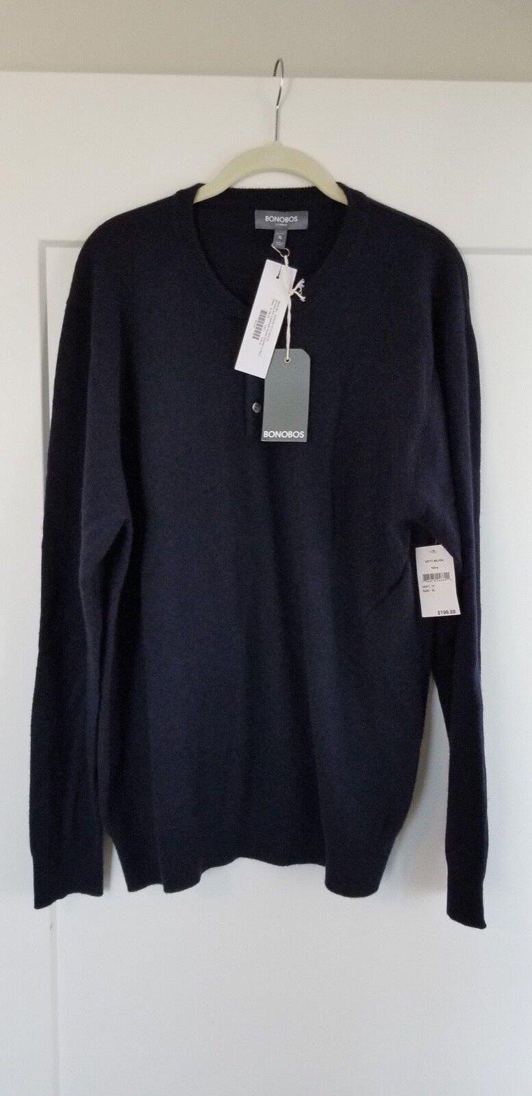 Mens Bonobos Henley Cashmere Sweater Size XL Navy