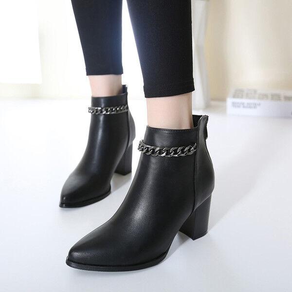 botas botas botas elegantes bajo cómodo 8 cm negro botas militares como piel CW782  solo cómpralo