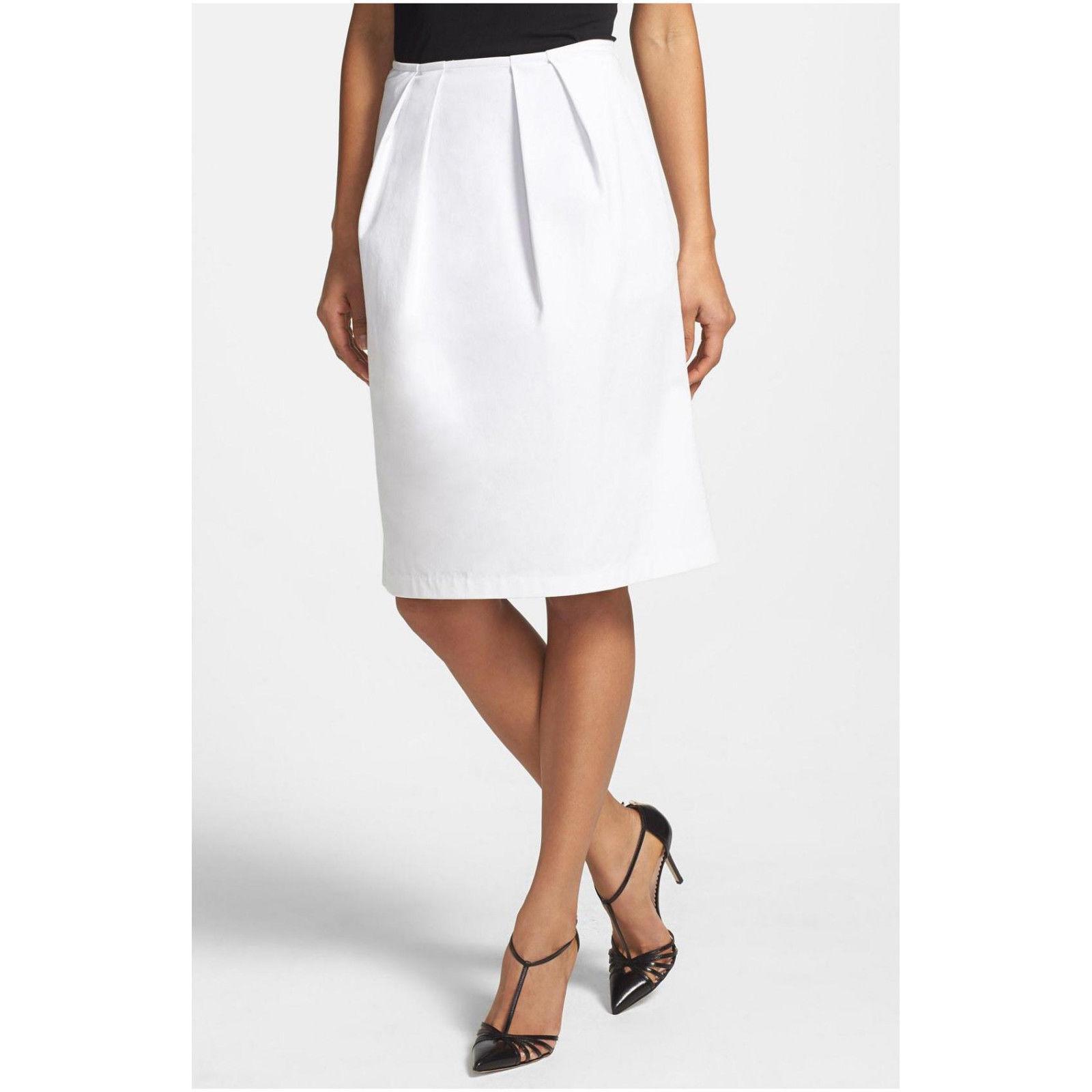NWT  198 Lafayette 148 New York White Stretch Pleat Twill A-Line Skirt.SZ 4