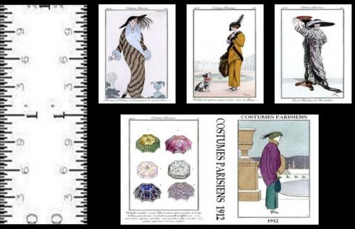 1:12 SCALE MINIATURE BOOK COSTUMES PARISIAN 1912 DOLLHOUSE