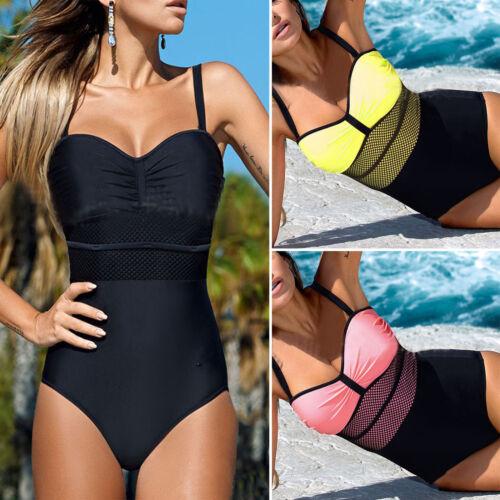 Damen Push Up Bikini Bademode Monokini gepolstert  Einteiler Badeanzug Gr.38 40