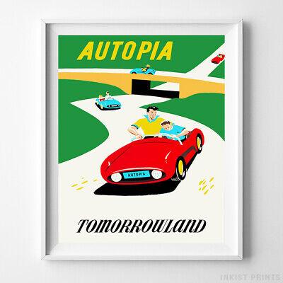 Disney Poster Autopia Tomorrowland Disneyland Home Decor Art Print UNFRAMED