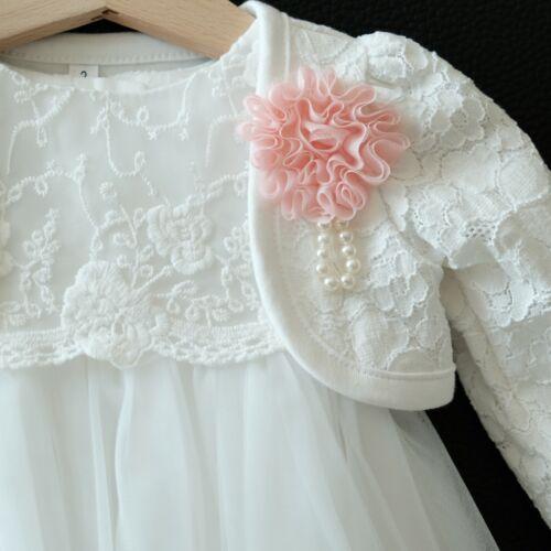 Taufkleid Bolero Festkleid Babykleid Tüll Blumenmädche Gr 62-98 2tlg