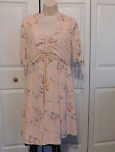 LC-LAUREN-CONRAD-Womens-MATERNITY-Pink-Floral-Ruched-Front-Dress-Size-S