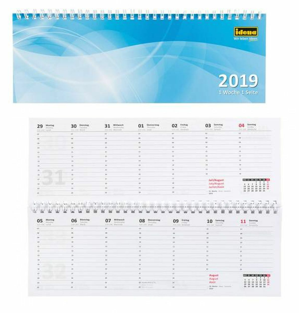 Karton 1 Woche// 2 Seiten 297 x 105 mm Glocken Querkalender Querterminbuch blau 1