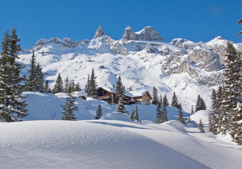 Fototapete Verschneite Alpen  Tapete Vliestapete