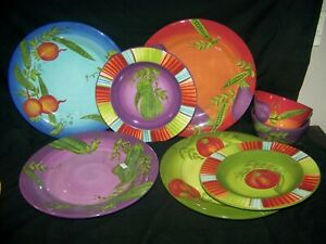 8-Piece-Lot-Laurie-Gates-MARKET-GARDEN-4-Dinner-2-Salad-Plates-2-Bowls-UNUSED