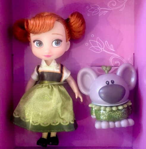 "DISNEY ANIMATORS/' COLLECTION MINI DOLL 5/"" ANNA w//TROLL FROZEN COLLECTIBLE TOY"
