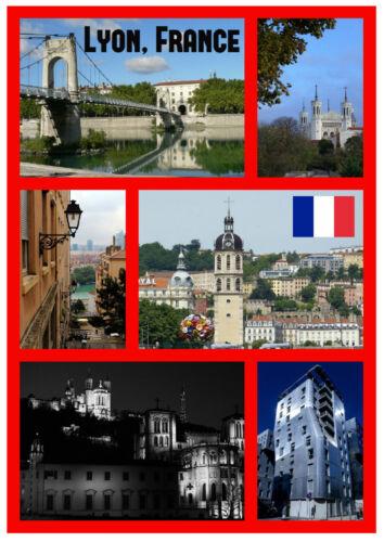 Neu // Fahne Sights Souvenir Neuheit Kühlschrank Magnet Lyon,Frankreich