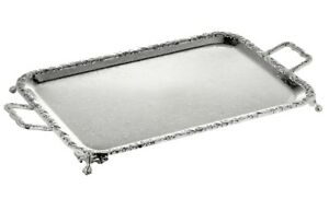 Vintage-Silver-Plated-Oblong-Tray-With-Handles-amp-Legs-Gift-NEW-SALE