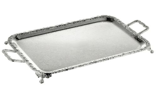 Vintage Silver Plated Oblong Tray With Handles/&Legs Gift-NEW SALE
