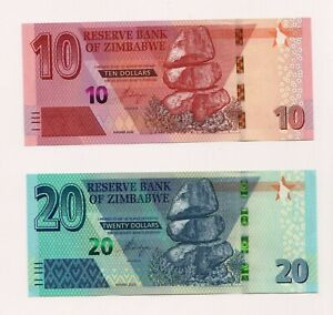 NEW-ZIMBABWE-Z-10-amp-Z-20-dollars-Banknote-2020-P-New-UNC-condition