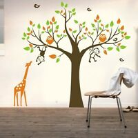 OWL Tree MONKEY giraffe Removable Wall Art Stickers Kids Nursery Vinyl Decal DIY