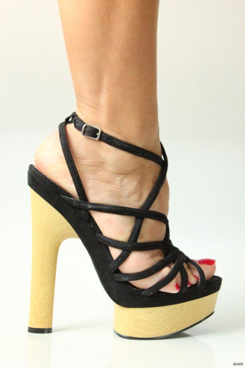 new BEBE 'Chrissy' schwarz strappy PLATFORMS wooden heels schuhe - SUPER HOT