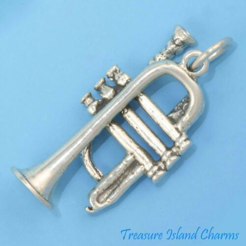 Trompette instrument musique 3D 925 Solid Sterling Silver Charm pendentif made in USA