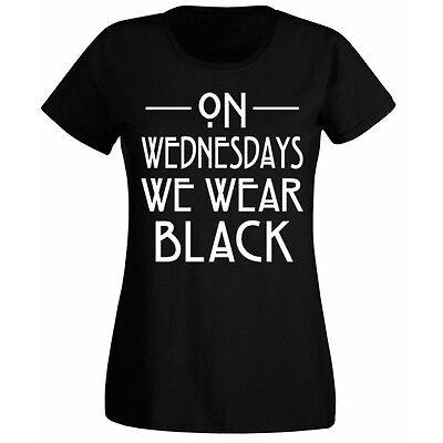 Womens On Wednesdays We Wear Black Slogan T-shirt NEW UK 6-18