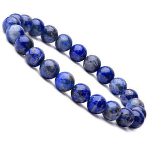 Natural-8mm-Lapis-Lazuli-Beads-Bracelets-Unisex-Elastic-Bangle-Jewelry-Gi-JT