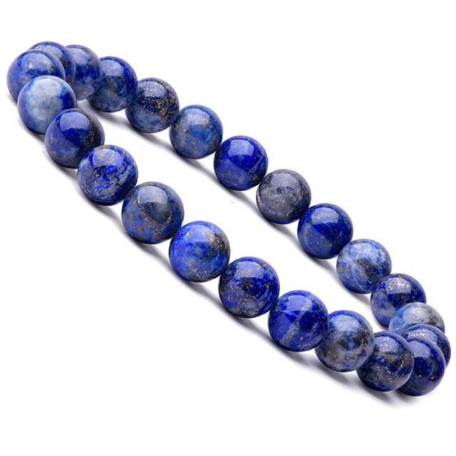 Natural 8mm Lapis Lazuli Beads Bracelets Unisex Elastic Bangle Jewelry GiftsFCA