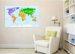 3d colorful world map 4 wall stickers vinyl murals wall print decal image is loading 3d colorful world map 4 wall stickers vinyl publicscrutiny Choice Image