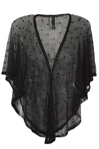 Ex Warehouse Black Sheer Star Embellished Tie Shrug Shawl Top Size S//M M//L