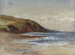 JOHN-GLYNN-Antique-Watercolour-Painting-COASTLINE-SEASCAPE-c1920