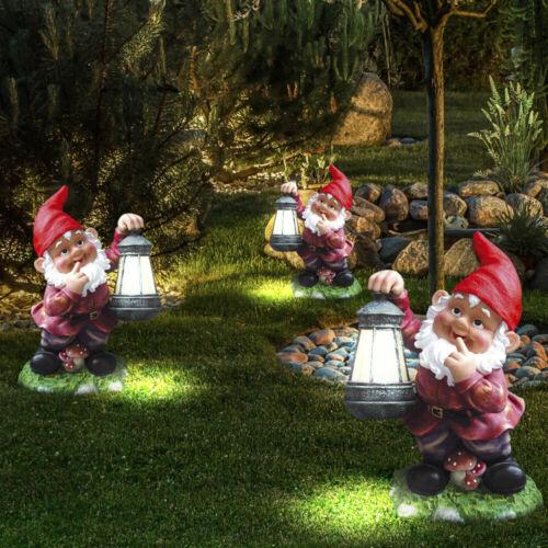 3er Set LED Gartenzwerg Outdoor Solarleuchte LxBxH 16 x 14,5 x 25,5 cm 1-flammig