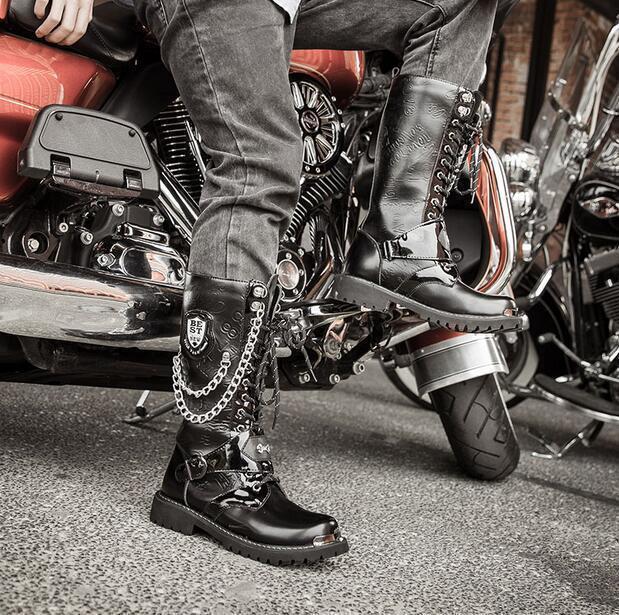 Para Hombre PU Vintage Motocicleta de la Zapatos rodilla Botas altas Zapatos la Negros Cadenas Punk Militar 831a9b