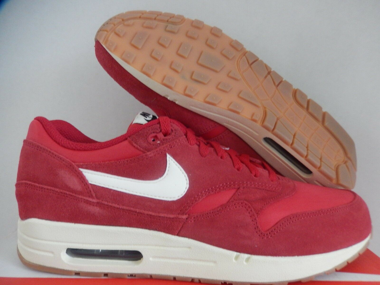 NIKE AIR MAX 1 ESSENTIAL GYM RED-SAIL-BLACK-BLACK SZ 10.5 [537383-611]