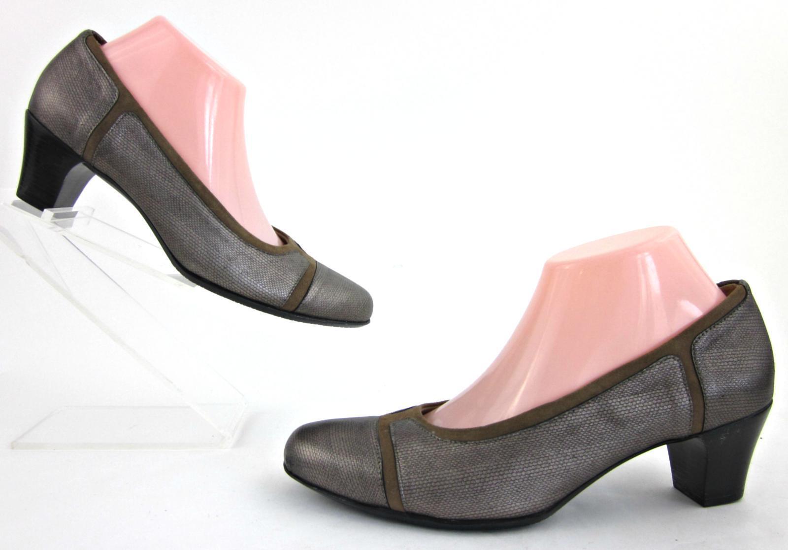Zapatos de de de Cuero Munro American  Jillian 'Vestido Metálico gris Topo 9M usado dos veces  online barato