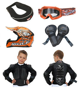 Kids MX Motocross Wulfsport Goggle Brace Knee Jkt Armour Helmet Orange #X10
