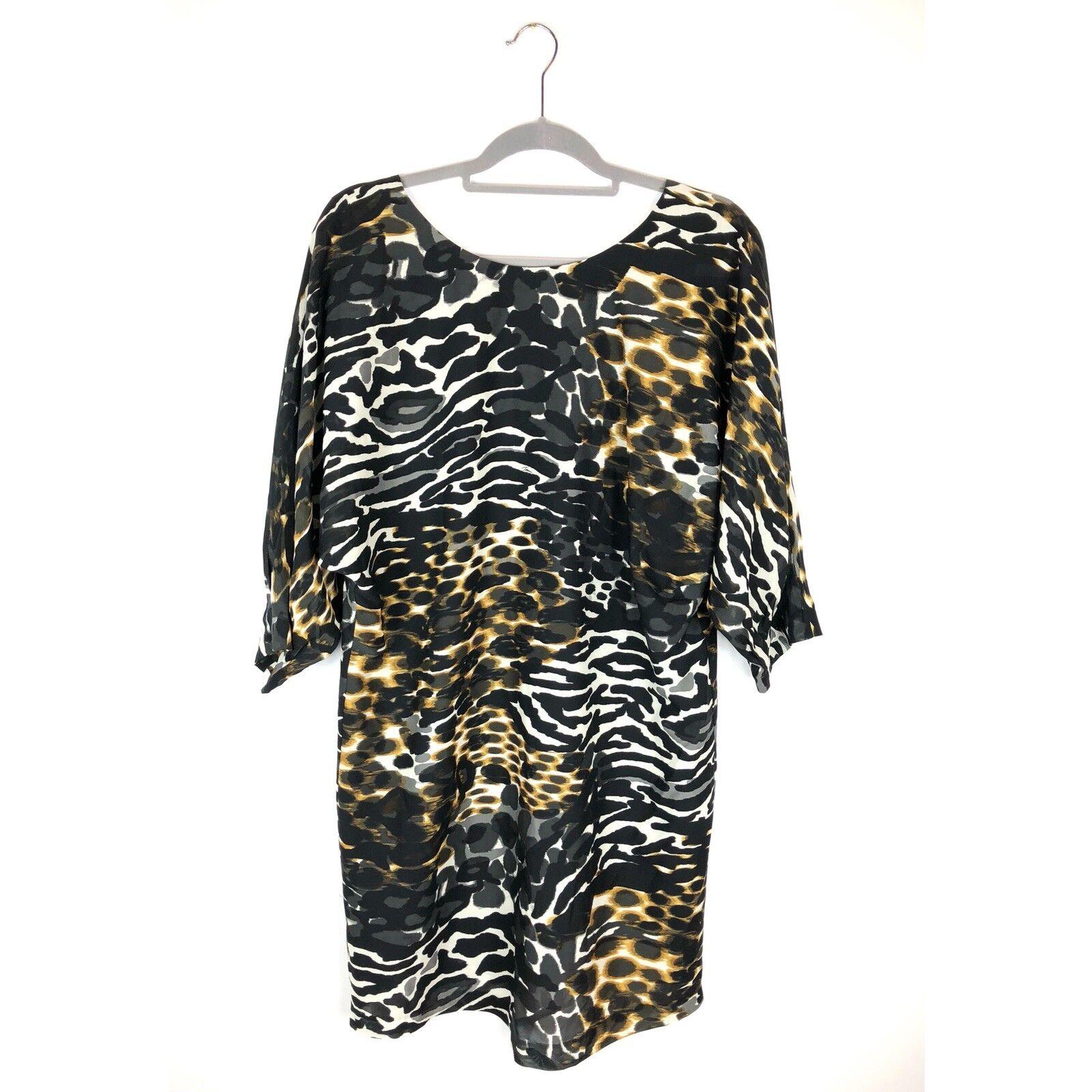 Trina Turk Silk Naideen Dress Cheebra Animal Print Size Medium