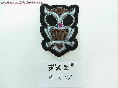 """Iron On Sew on Patch Badge Applique cute owl embroidered patches 3"""" x 2"""""""