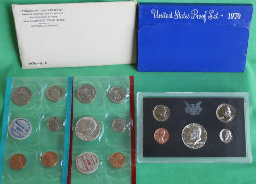 1970 Proof and Uncirculated Annual US Mint Coin Sets PDS 15 Coins 40/% Silver 50c