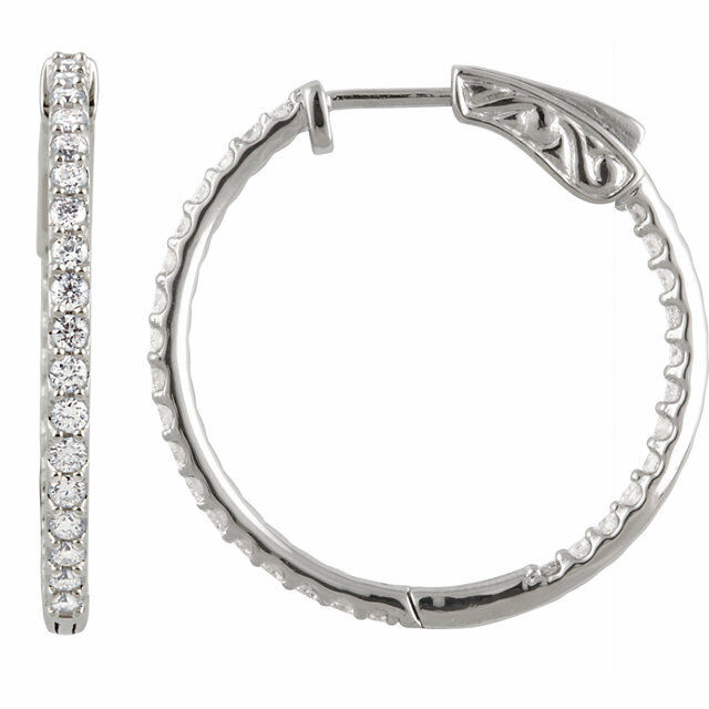 Diamond Inside Outside Hoop Earrings In 14K White gold (1.00 ct. tw.)