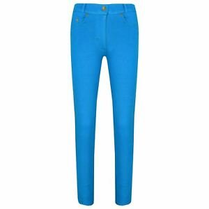2e50c415926a9 Details about Girls Skinny Jeans Kids Turquoise Stretchy Denim Jeggings  Pants Trousers 5-13 Yr