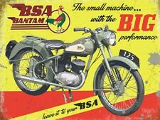 BSA Bantam, Big Performance Motorcycle, Vintage Old Garage Large Metal/Tin Sign