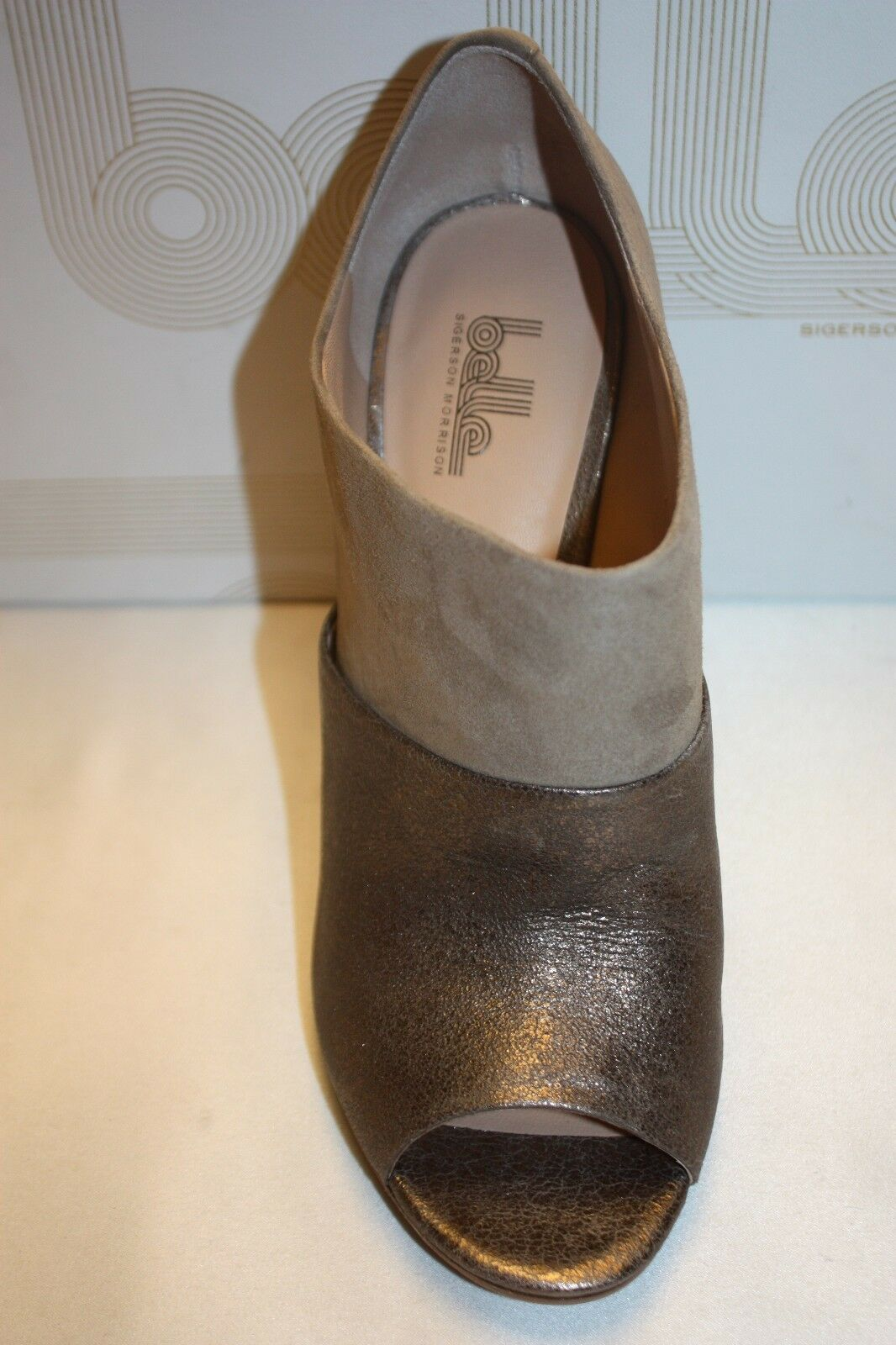 NEW BELLE by by by SIGERSON MORRISON Dune Suede Pewter BEETLE Peep Toe Booties 10  295 b35cfd