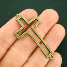 BC042 10 Cross Charms Antique Bronze Tone 2 Sided Beaded Cross Charms