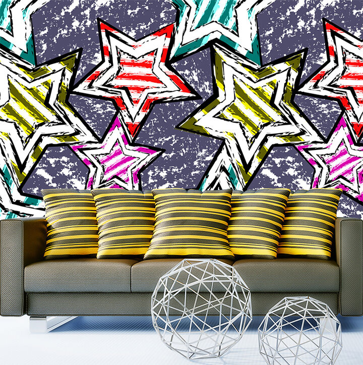 3D Star painted wall Paper Print Decal Wall Deco Indoor wall Mural