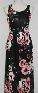 Womens-Maxi-Dress-Size-S-Sleeveless-Fit-and-Flare-Black-Pink-Floral-Rose