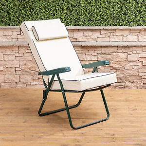 Awesome Details About Garden Recliner Chair Green Folding Adjustable Frame With Luxury Cushion Ibusinesslaw Wood Chair Design Ideas Ibusinesslaworg
