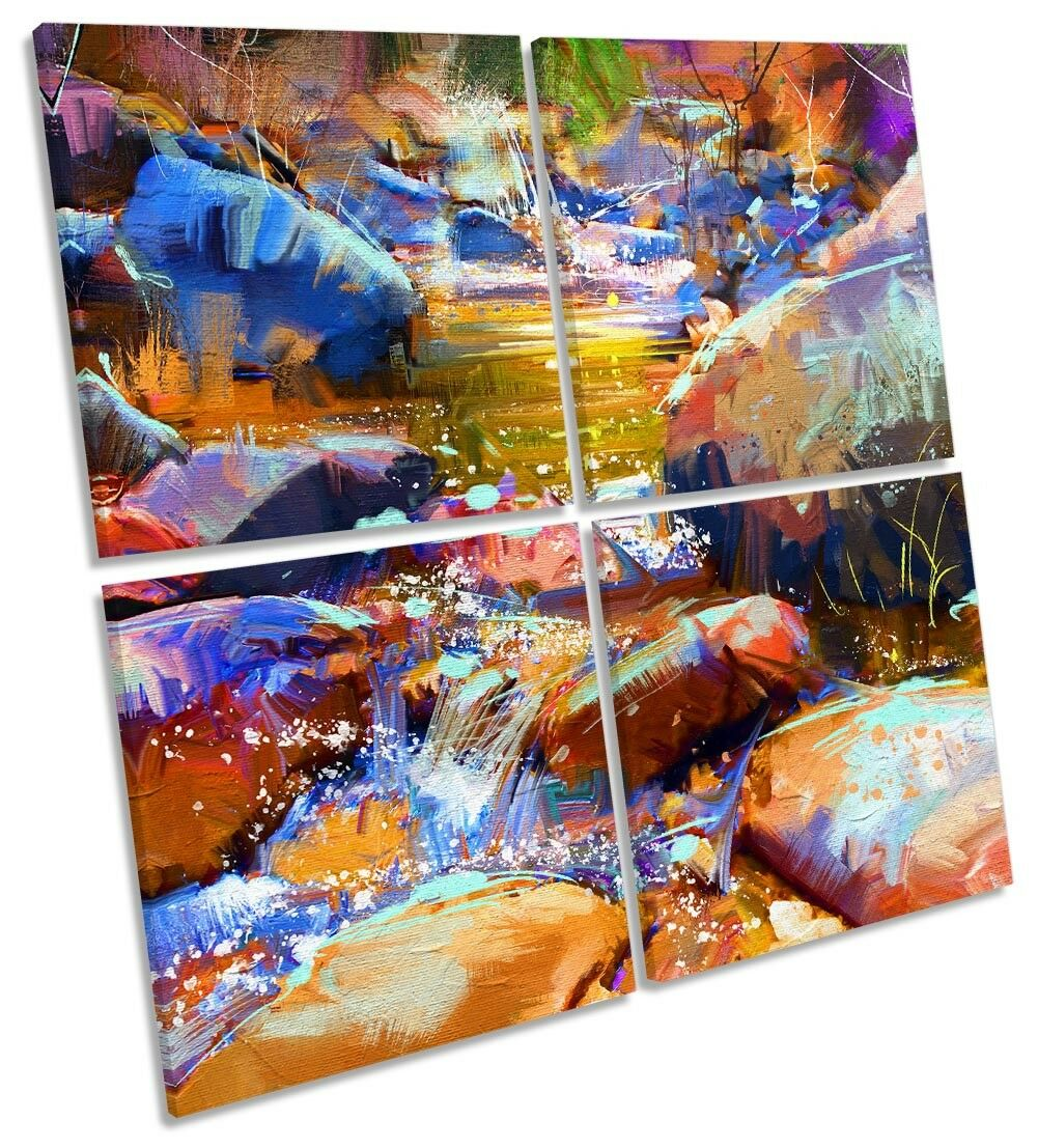 Abstract Landscape Waterfall Bild MULTI CANVAS Wand Kunst Square