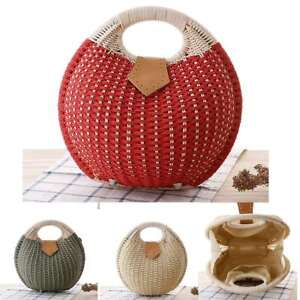 Retro-Women-Straw-Handbag-Rattan-Woven-Round-Beach-Bags-Shell-Shape-Knitted-Tote