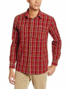 Dockers-Men-039-s-Long-Sleeve-Chambray-Shirt-Pomegranate-XL