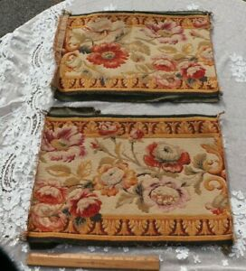 2-Pcs-Of-Antique-19thC-French-Floral-Aubusson-Style-Tapestry-Wool-Cotton-Fabric