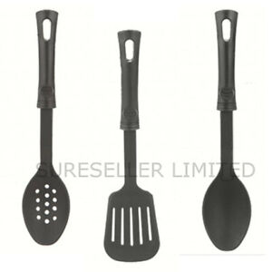 Black Nylon Solid Slotted Plastic Spoon Turner NonStick Cooking Serving Kitchen