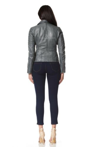 Ladies Leather Jacket Grey Biker Fashion Designer Soft 100/% Real Leather 9334
