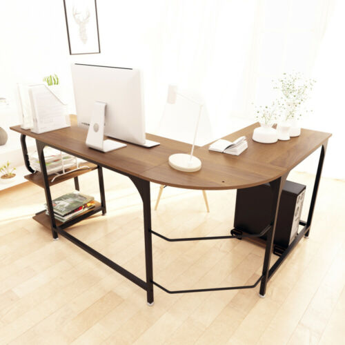 L-Shaped Corner Computer Desk Home Office Study Laptop PC Work Workstation Table