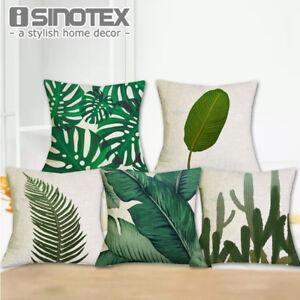 Housse-de-Coussin-45x45cm-Afrique-Plante-Tropicale-Imprime-Vert-Feuilles-Taie